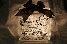 Give Thanks Lighted Glass Blocks by WorldofAKD on Etsy