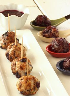 Skinny Turkey Meatballs with Wild Blueberry BBQ Sauce   Sweet, Savory, Delicious   Guilt-free, Perfect Appetizer   Only 59 Calories   For MORE RECIPES, fitness & nutrition tips please SIGN UP for our FREE NEWSLETTER www.NutritionTwins.com