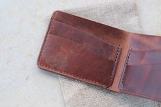 Leathercraft Horween bifold wallet, horsehide Chromexcel - gifts for deer hunters - handmade Australia leather wallet - $110 www.thirtyinches.com