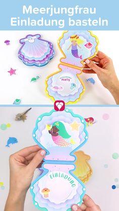 🐬 🐚 Meerjungfrau Einladungskarte basteln   Bastelt Euch eine zauberhafte Meerjungfrau Einladungskarte im Muschel Design. Mit vielen Stickern zum Dekorieren bastelt Ihr die Karte genau so, wie Ihr sie Euch vorstellt. 🐬 🐚   Viel Spaß beim Basteln!  Dein balloonas Team   #Meerjungfrau #Meerjungfrauparty #Meerjungfraugeburtstag #sommer #einladung #einladungskarte #poolparty #Wasserparty #Gartenparty #Arielle #Muschel #Kinderparty #kindergeburtstag #basteln