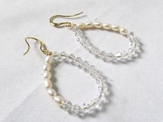 pearl and crystal drop earrings tear drop fresh water pearl and Swarovski crystal earrings bridal wedding