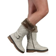 Amazon.com: My1stWish Womens 4H Quilted Ladies Buckle Winter Warm Grip Sole Zip Boots Shoes: Shoes $30.95