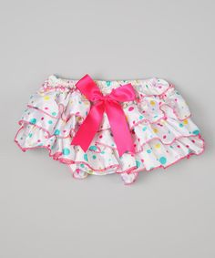White & Pink Polka Dot Ruffle Diaper Cover - Infant on zulily