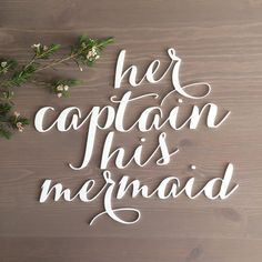 Her Captain His Mermaid Signs / Beach Wedding / Chair Signs / Disney Wedding / Bride Groom Signs / Laser Cut Signs / Calligraphy Signs