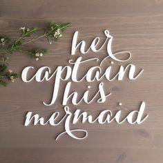 Her Captain His Mermaid Signs / Beach Wedding / Chair Signs / Disney Wedding / Bride Groom Signs / Laser Cut Signs / Calligraphy Signs
