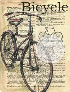 PRINT:  Bicycle Drawing on 1890's, Distressed, Dictionary Page