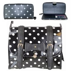 LYDC Oilcloth Polka dots Cross Body Bag With Matchiing Purse Black Satchel Messenger Fashionable polka dots pattern. It has gorgeous buckle detail, faux leather detailing