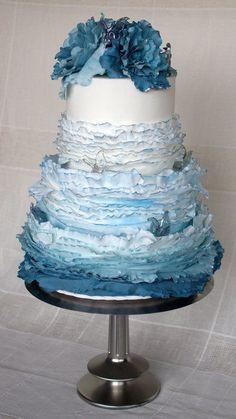 Blue Maggie Austin inspired Wedding Cake