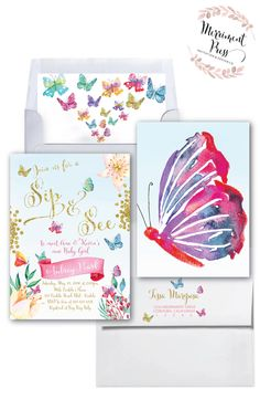 Butterfly Baby Shower Invitation, Butterflies and Flowers Baby Shower Invitation, pink purple teal Butterfly Baby Girl Shower, garden baby Sip And See Invitations, Butterfly Invitations, Baby Sprinkle Invitations, First Birthday Invitations, Watercolor Invitations, Baby Shower Invitations, Baptism Invitations, Invitation Ideas, 1st Birthday Party For Girls