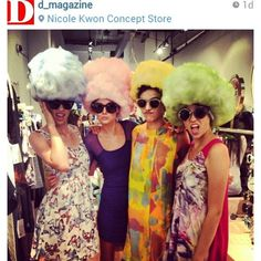 Instagram post form D Magazine with @AGraves and my work! Live Mannequins for the Nicole Kwon + Karen Walker event! Models from Wallflower Management! styled by @AGraves with MUAH by #MakeupbyLorann. Cotton Candy head pieces made by @AGraves and myself!