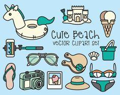 Premie Vector Clipart - schattig strand Clipart - Kawaii Beach Day Clip Art Set - hoge kwaliteit vectoren - Instant Download - Kawaii Clipart