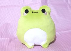 """One Chibi Frog plush toy!This frog is approximately 6"""" tall with machine embroidered details and applique.Each Frog is made to order! Orders may take up to three weeks to make and ship out, if you have any questions please don't hesitate to email me!If you wish to choose another colour for your froggy please email me a Kawaii Plush, Cute Plush, Cute Stuffed Animals, Cute Animals, Chibi, Frog Art, Kawaii Room, Cute Frogs, Frog And Toad"""