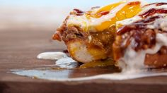BBQ Breakfast Sandwich: This ooey-gooey Southern breakfast sandwich takes Saturday mornings to a whole new level – all you need is a toasted bagel, some of our favorite barbecue-sauce-smothered pulled pork, a fried egg, and extra sauce for drizzling.