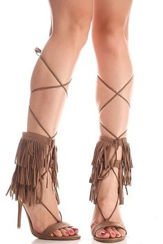 These taupe suede high heels feature a top fringe accent look,laced up top,back zipper,open toe style single sole look,Heel measures about 4.5 inches.