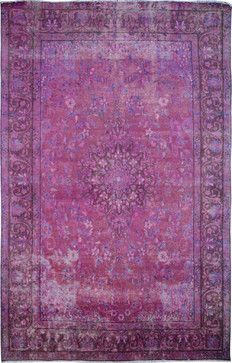 "Handmade Purple Oriental Antique Overdyed Rug 6' 2"" x 9' 8"" (ft) traditional-area-rugs"