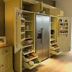 "Original caption: ""Neptune Grand Larder Unit: An elegant solution for all types of kitchen storage."" Yeah, right, your kitchen would have have one long empty wall on it. Still like the idea. Maybe in the remodel. Küchen Design, Home Design, Design Ideas, Design Table, Design Hotel, Design Color, Layout Design, Custom Design, New Kitchen"