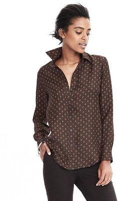Dillon-Fit Long-Sleeve Silk Blouse