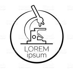 Microscope line icon, outline vector sign, linear style pictogram. Lab Logo, Black And White Illustration, Pictogram, Line Icon, Social Media Design, Free Vector Art, Lorem Ipsum, Logo Branding, Outline
