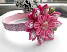 Dog collar/Pink dog collar/Collar flower/Kanzashi by AirinFlowers #DogAcccessory #PetAccessory #DogClothes #kanzashi #PetSupplies #CollarFlower