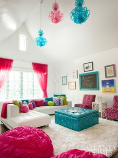 Teen lounge rooms, teen hangout room, turquoise couch, house of turquoise, Teen Lounge Rooms, Teen Hangout Room, Teen Girl Rooms, Girls Bedroom, Bedroom Decor, Bedroom Ideas, Bedrooms, House Of Turquoise, Turquoise Couch