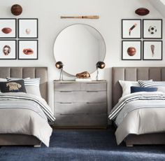 RH Baby & Child's Metal-Wrapped Inset Round Mirror - Pewter:Our metal mirror's thin banded frame and sleek silhouette offer an understated approach to functional décor while complementing a range of room designs. Kids Bedroom Designs, Boys Bedroom Decor, Girls Bedroom, Bedroom Ideas, Leather Bed, Guest Bedrooms, Luxury Bedrooms, Master Bedrooms, Luxury Bedding