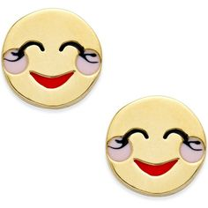 kate spade new york Gold-Tone Blushing Emoji Stud Earrings ($48) ❤ liked on Polyvore featuring jewelry, earrings, gold, gold tone earrings, stud earrings, kate spade earrings, stud earring set and gold tone jewelry