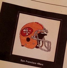 San Francisco 49ers Cross Stitch Kit Helmet Football 7x7 Thread & Aida Orange  #SanFrancisco49ers