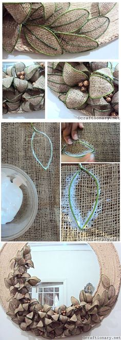 Mirror decor the hands, flowers from a sacking. You can do this easly :) mirror decor flowers sacking Burlap Flowers, Diy Flowers, Fabric Flowers, Paper Flowers, Hobbies And Crafts, Diy And Crafts, Arts And Crafts, Burlap Projects, Creation Deco