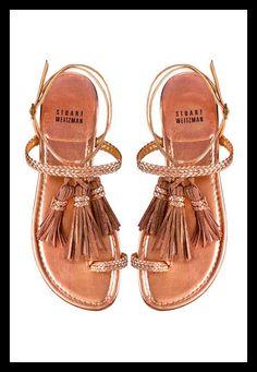Stuart Weitzman gold flat tasselled toe ring sandals