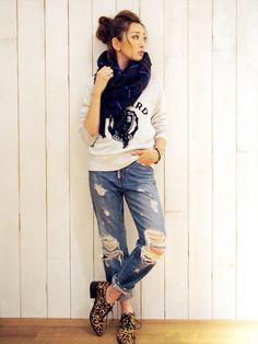 Ungrid *セルヴィッチダメージボーイズデニム / Destroyed boyfriend jeans on ShopStyle
