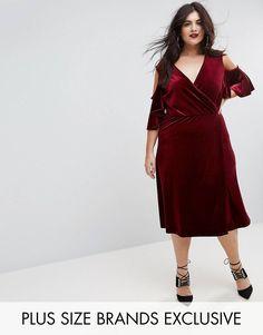 Boohoo Plus Velvet Cold Shoulder Wrap Midi Dress - Red Plus Size Dresses, Plus Size Outfits, Nice Dresses, Plus Size Womens Clothing, Plus Size Fashion, Clothes For Women, Fashion 101, Latest Fashion Clothes, Fashion Online