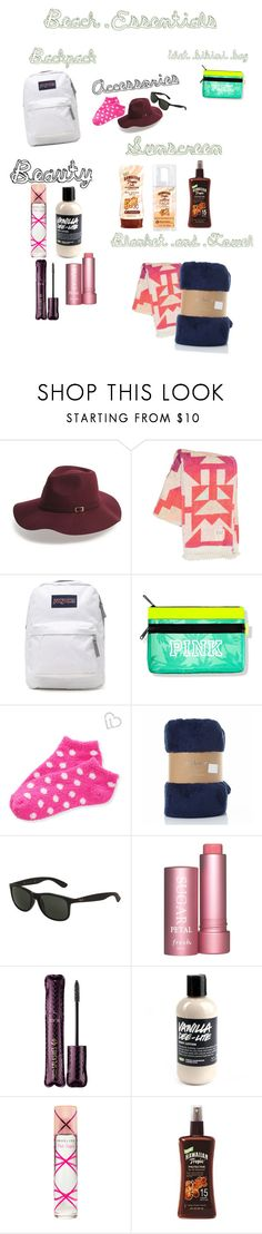 """""""Beach Day: necessities"""" by coolstorybroloveya ❤ liked on Polyvore featuring Shiraleah, Billabong, JanSport, Aéropostale, Ray-Ban, Fresh, tarte and Pink Sugar"""