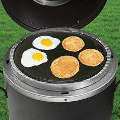 Smoker Roaster Grill Cast Iron Griddle.  Also works well with any kettle grill or other outdoor cooktop. Cook grilled cheese sandwiches eggs or pancakes on smooth side. http://click.linksynergy.com/link?id=MQWvUTzqMG0&offerid=294781.7186193&type=2&murl=https%3A%2F%2Fcharbroil.affiliatetechnology.com%2Fredirect.php%3Fnt_id%3D5%26url%3Dhttp%3A%2F%2Fwww.charbroil.com%2Fsmoker-roaster-grill-cast-iron-griddle.html