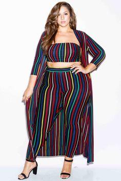 Plus Size Stripe 3 Piece Set Cheap Club Dresses, Plus Size Summer Dresses, Plus Size Outfits, Plus Size Fashion For Women, Plus Size Womens Clothing, Clothes For Women, Plus Fashion, Fashion Styles, Size Clothing