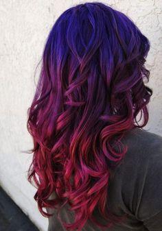 blue hair purple hair red hair ombre