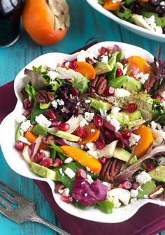 Pomegranate Persimmon Salad With Honey Balsamic Vinaigrette - A healthy, beautiful salad that is sure to please a crowd!   Foodfaithfitness.com   #recipe #glutenfree