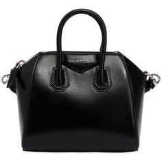 Givenchy Women Mini Antigona Polished Leather Bag (€1.570) ❤ liked on Polyvore featuring bags, handbags, shoulder bags, black, leather handbags, givenchy, genuine leather purse, leather shoulder bag and real leather handbags