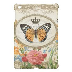 Vintage French Butterfly mini ipad case Cover For The iPad Mini