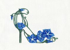 Beautifully hand painted Blue Morning Glory Slipper 5 on needlepoint canvas, great addition to your slipper collection Needlepoint Designs, Needlepoint Pillows, Needlepoint Kits, Needlepoint Canvases, Hand Embroidery Stitches, Ribbon Embroidery, Cross Stitch Embroidery, Machine Embroidery, Embroidery Ideas