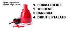 Quali ingredienti evitare negli smalti.  Su www.verobiomercato.it trovate un assortimento di smalti Benecos, privi di sostanze tossiche.