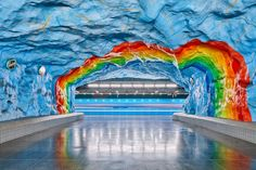 in his photo series 'metro', david altrath photographs the historic art installations found across stockholm's underground metro stations. Graphic Design Print, Graphic Design Inspiration, Stockholm Metro, Wide Angle Photography, Metro Station, Installation Art, Unique Art, Amazing Art, Art Gallery