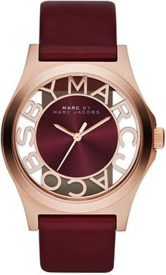 Marc by Marc Jacobs MBM1274 HENRY maroon leather ladies watch at ShopStyle