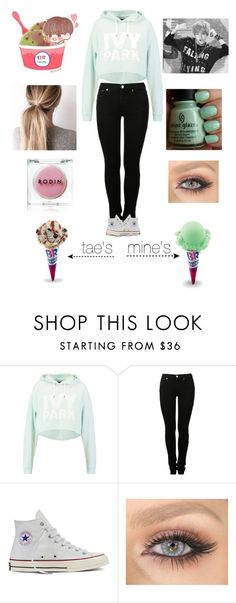 """""""Baskin-Robbins With Tae!"""" by baekyeoltaekook ❤ liked on Polyvore featuring Ivy Park, MM6 Maison Margiela, Converse and Rodin Olio Lusso"""