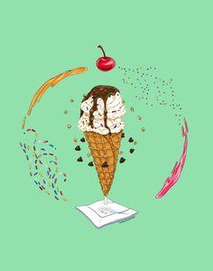 Ice Cream Mandala Illustration Sarah Wright, 2016 Pen, Marker and Pencil on Bristol Board, Colored in Photoshop