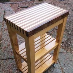 Handcrafted and made in Oregon. Rolling butcher block kitchen cart.  #carpentry #woodworking #modern #furniture #handcrafted #handmade #portland #oregon #woodshop #wood #pdx #design #build #custom #bois #walnut #maple #butcherblock #alder by moulder_and_craft