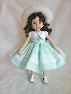 """Aqua Lace Dress for 13"""" Little Darling Effner Doll by Apple"""