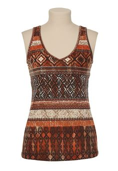 I love a little something different in a top, note the back! Allover Ethnic Print Tank - maurices.com