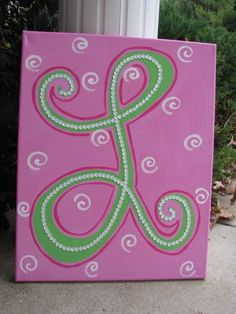 Canvas Art Buttons Arcrylic Monogram Painting