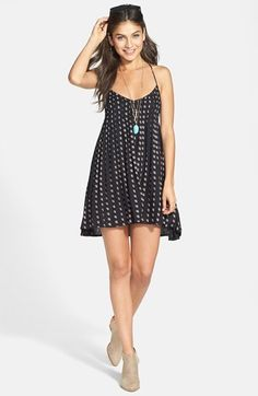 RVCA 'Told Secrets' Pintucked Lace Up Dress (Juniors)