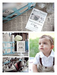 Vintage Newspaper Birthday Party - super-cute idea for a little boy!